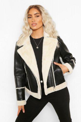 Boohoo Black Bonded Contrast Faux Fur Biker Jacket