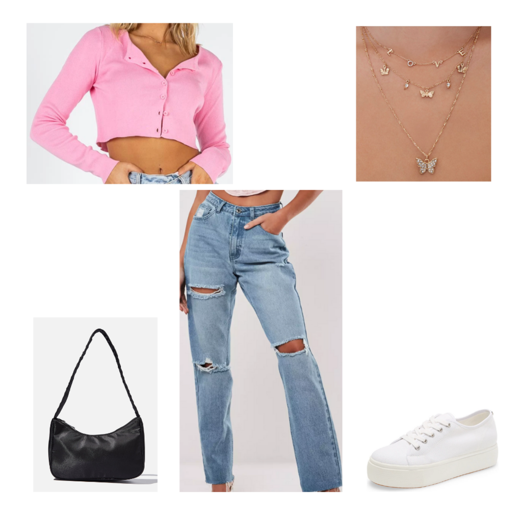 Lazy day outfit #3: Wide leg jeans, cropped cardigan, mini purse, butterfly necklace, platform sneakers