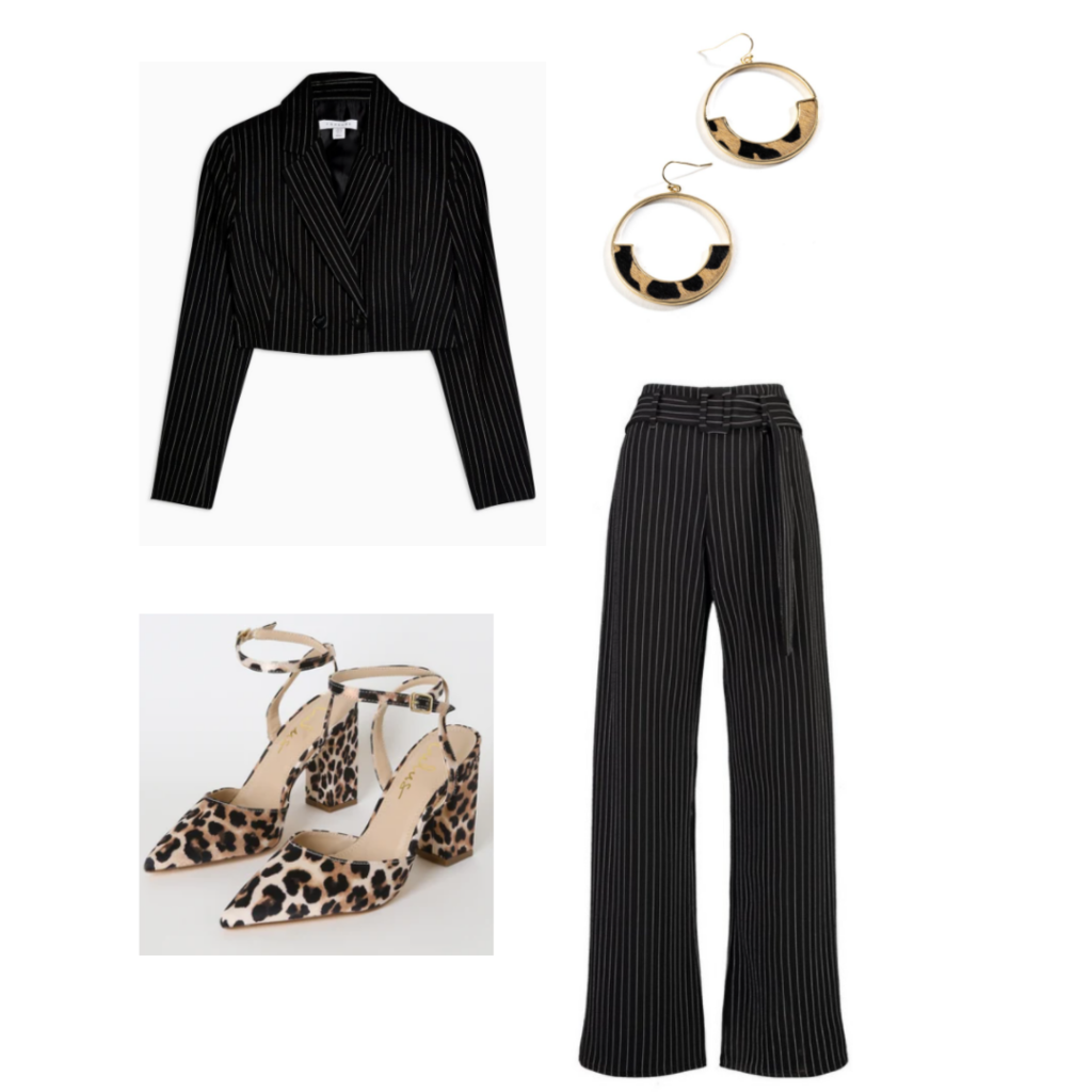 Happy hour outfit 3 - black pinstrip suit with cropped jacket, leopard print heels, gold leopard hoop earrings