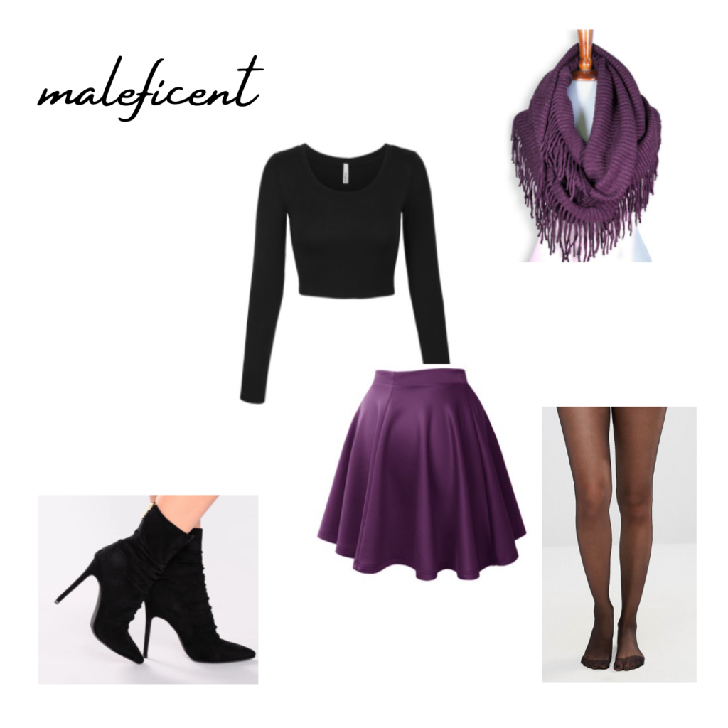 live-action disney movie inspired maleficent outit set: black long sleeve top, purple skirt, purple skirt, purple scarf, heeled booties