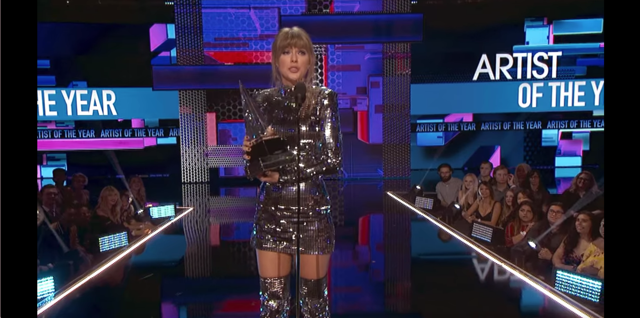 Taylor Swift Miss Americana outfit - Taylor winning Artist of the Year in her disco ball outfit