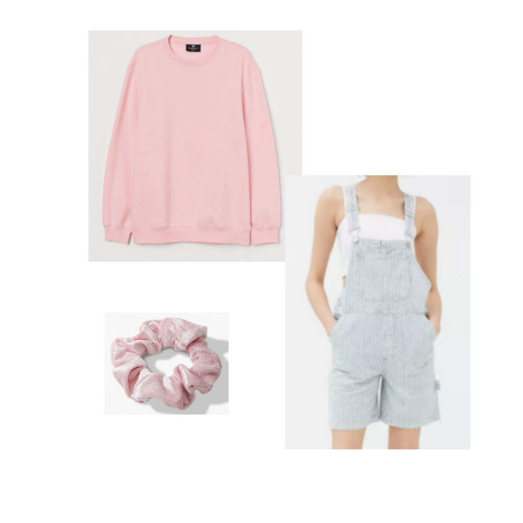 Taylor Swift in Miss Americana inspired outfit set: pastel pink sweatshirt, baggy short overalls, pink velvet scrunchie.
