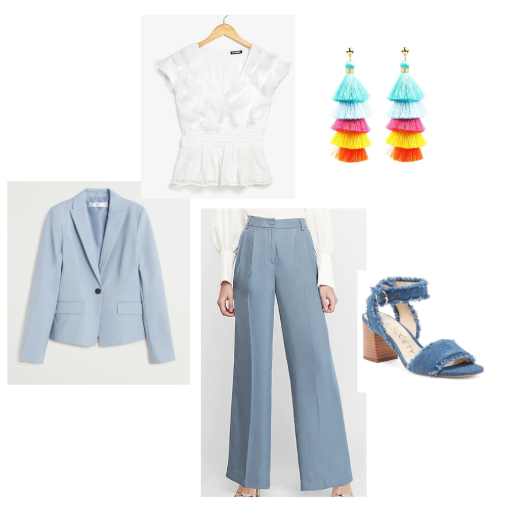Happy hour outfit 5 - baby blue suit with wide leg pants, ruffled white blouse denim heels, bright fringe earrings