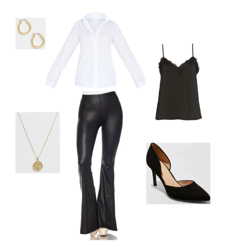 Happy hour outfit 1 - white button-up blouse, black faux leather pants, black lace cami, black pumps, simple gold jewelry.