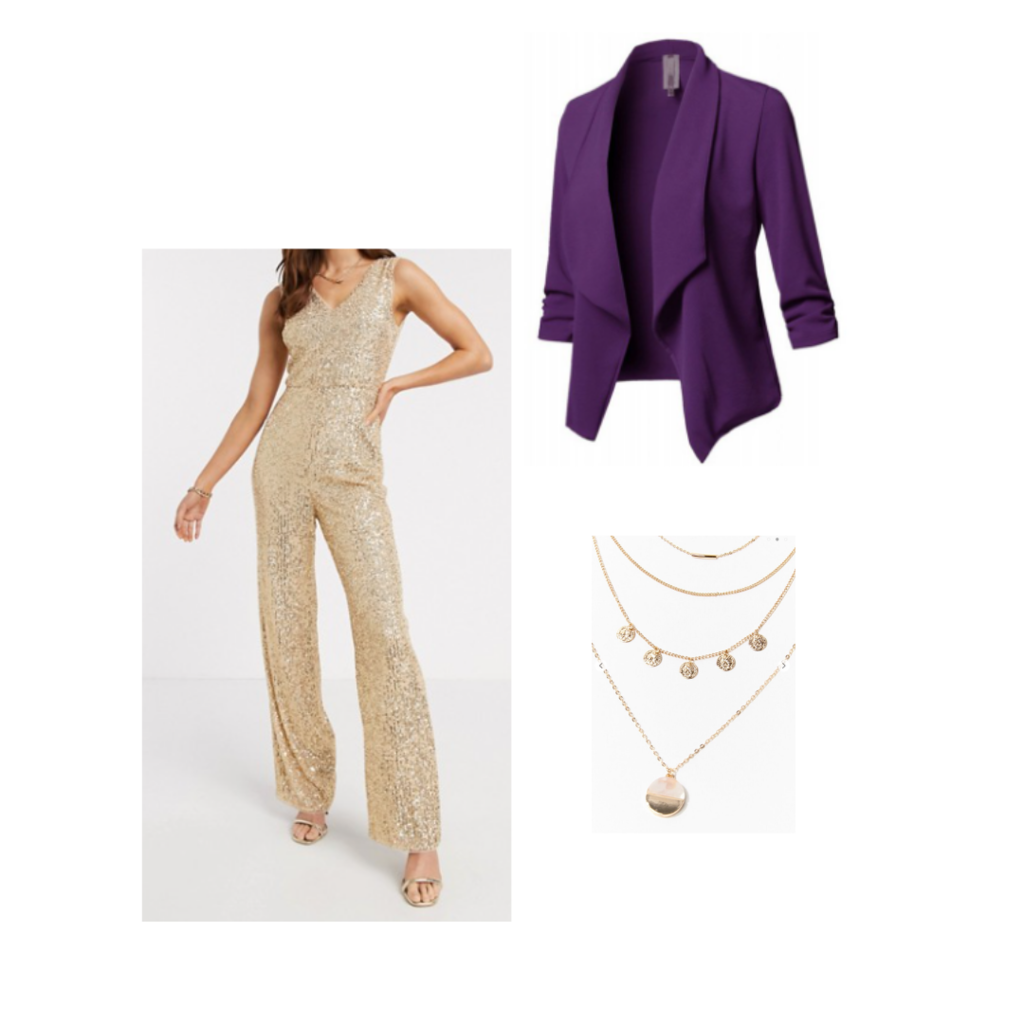 purple blazer outfit set, gold jumpsuit