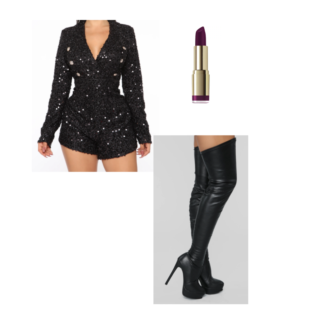 all black reputation inspired outfit set: sequin long sleeve romper, purple lipstick, black boots