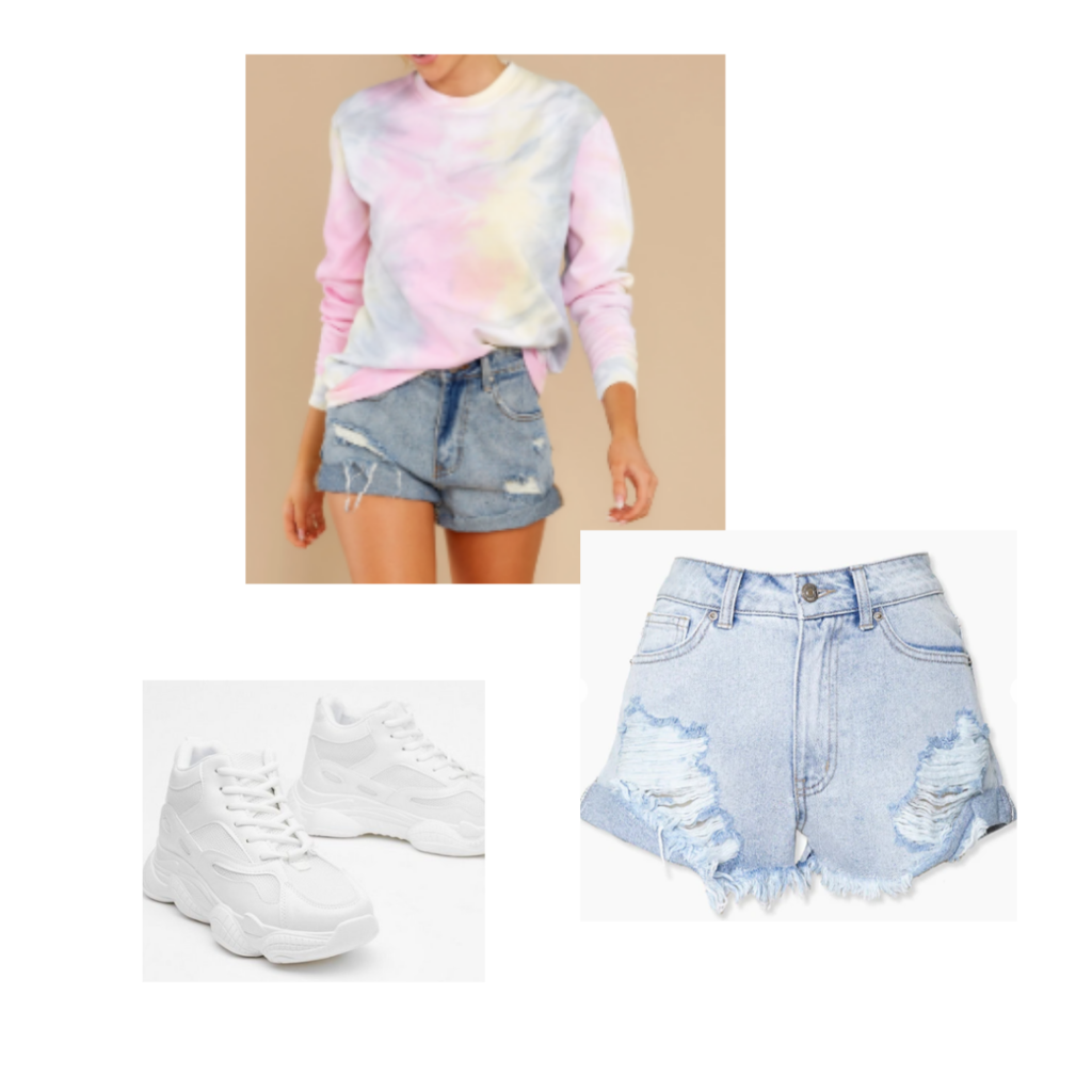 Miss Americana lover loungewear taylor swift inspired outfit set: light tie dye sweater, distressed denim shorts, white sneakers