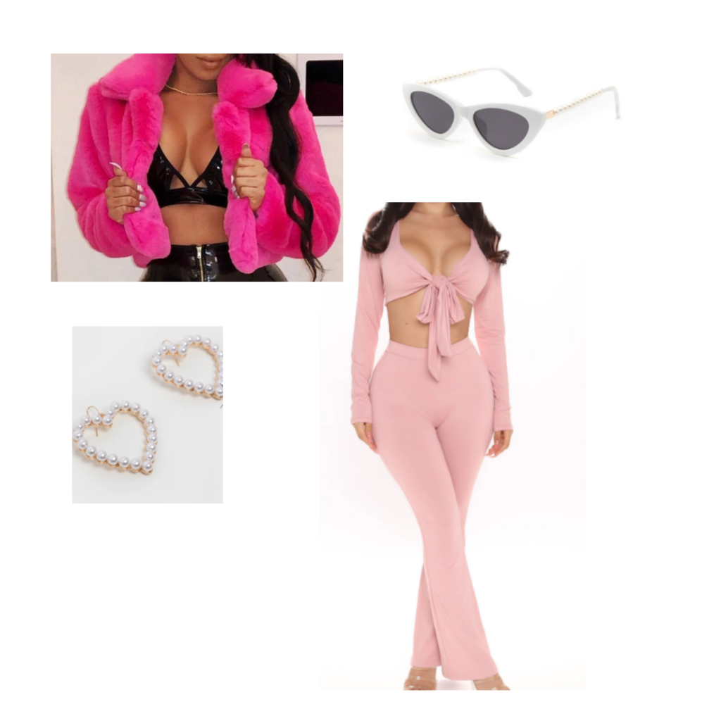 you need to calm down music video taylor swift inspired outfit set: baby pink matching set, hot pink fur jacket, cat eye sunglasses