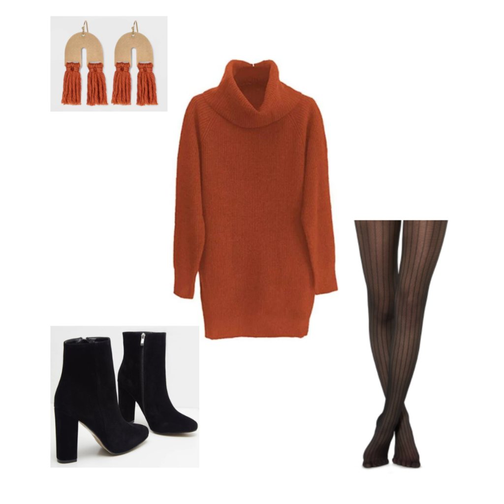 Set 2: orange sweater dress, pinstripe stockings, black booties, u-shaped orange tassel earrings