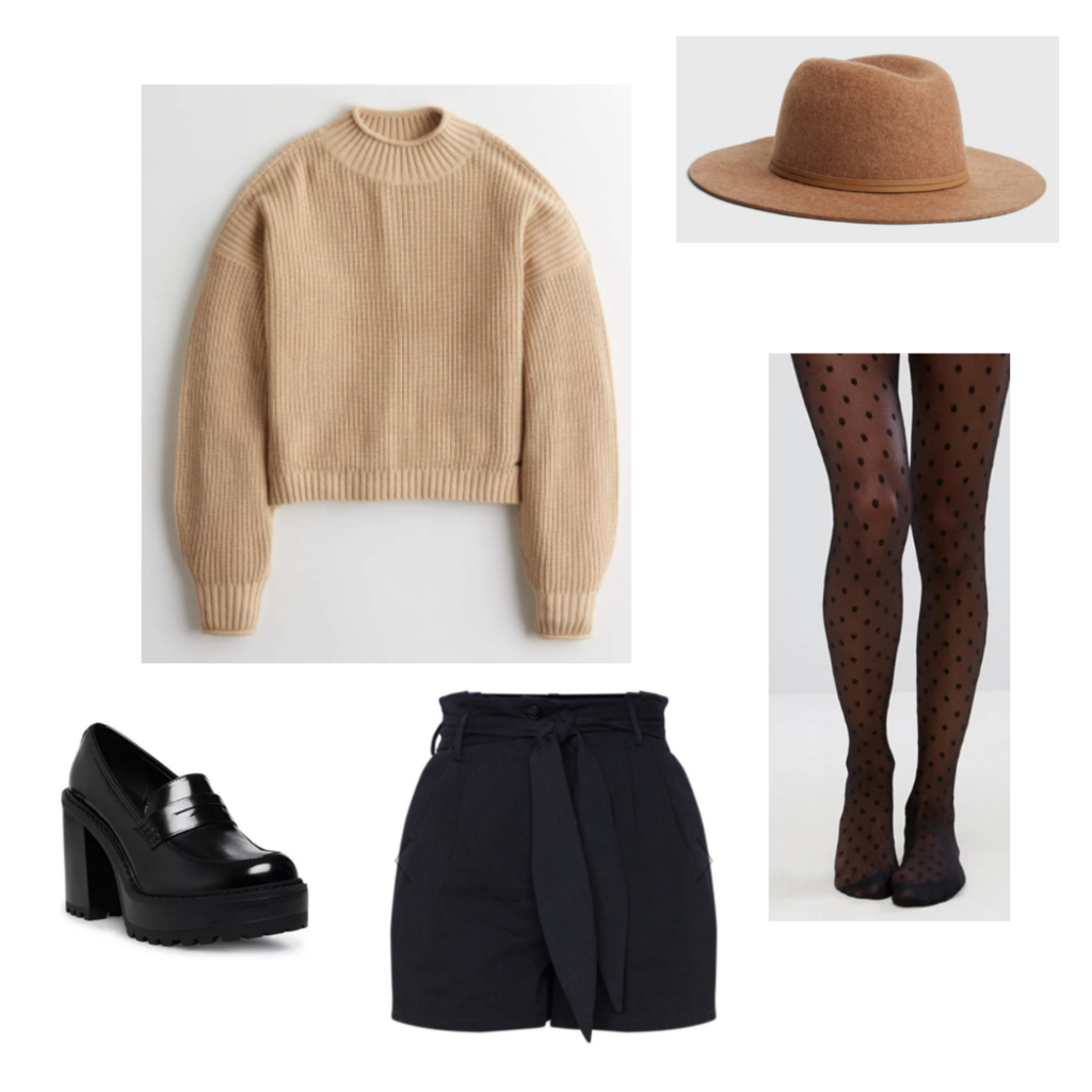 Outfit set 3: black paper bag shorts, polka dot tights, brown knit sweater, tan wide brim felt hat, and loafer platforms