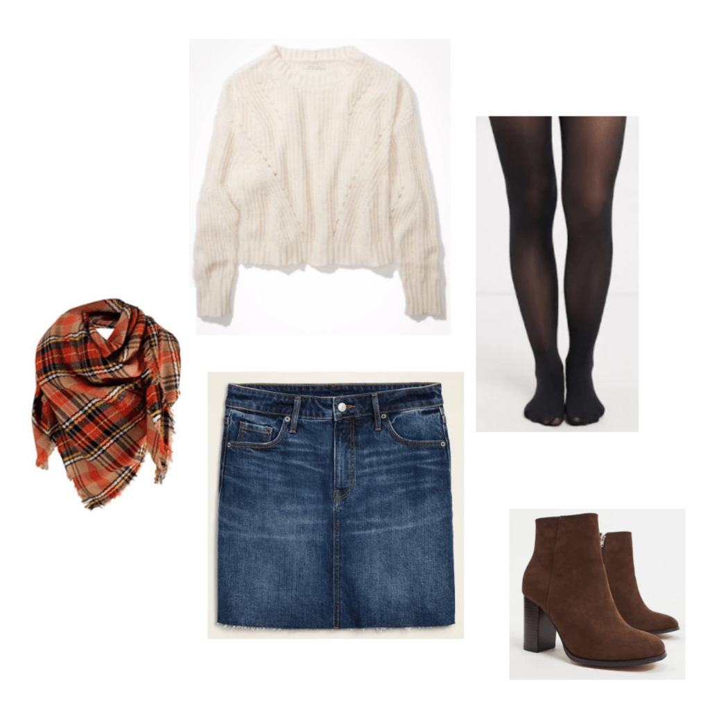 Outfit Set 1: black tights, denim skirt, cream knit sweater, plaid fall scarf, and brown boots