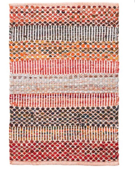 orange wide striped cotton woven indoor rug