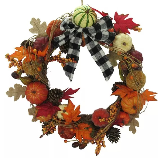 Cozy decor item: fall pumpkin covered wreath