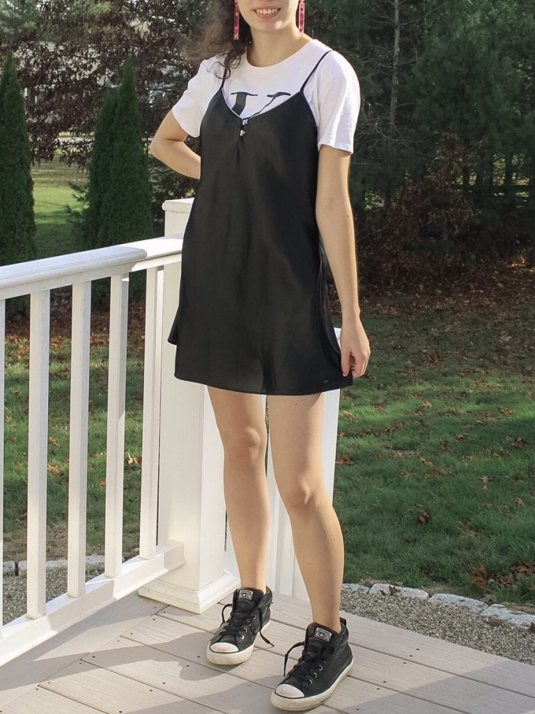 Photo of the author's outfit with a slip dress and t-shirt