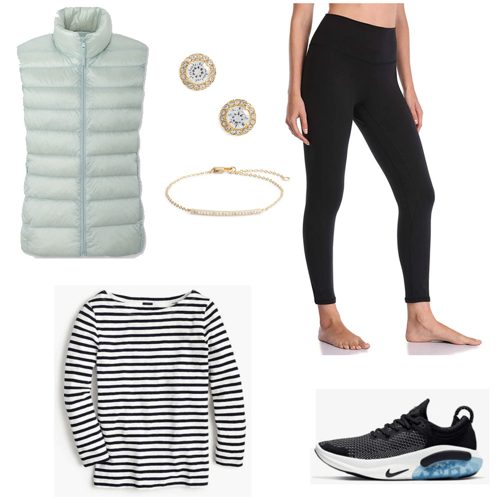 Lazy day outfit with joggers, long sleeve shirt, and winter vest