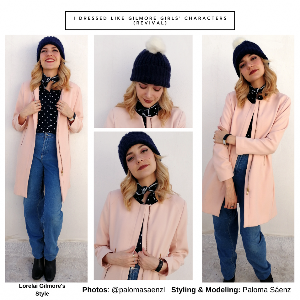 Lorelai style recreation: Outfit inspired by Lorelai's style in A Year in the Life with pink coat, knit hat, wide leg jeans, scarf