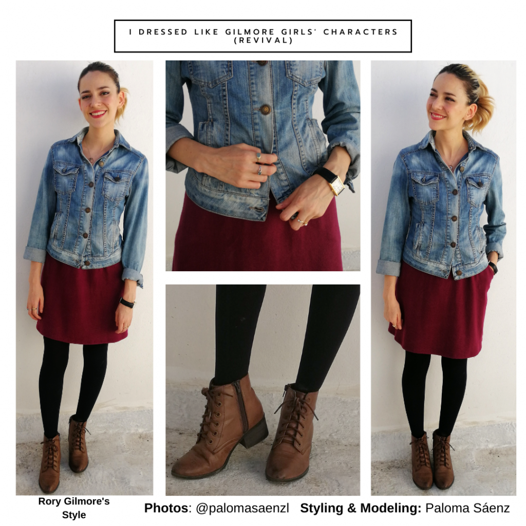 Rory Gilmore inspired outfit from The Revival: Red dress, black tights, brown heels, denim jacket