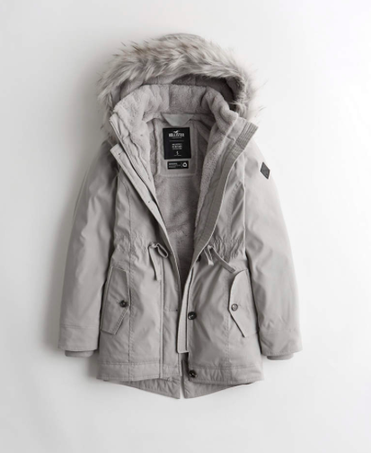 gray parka jacket