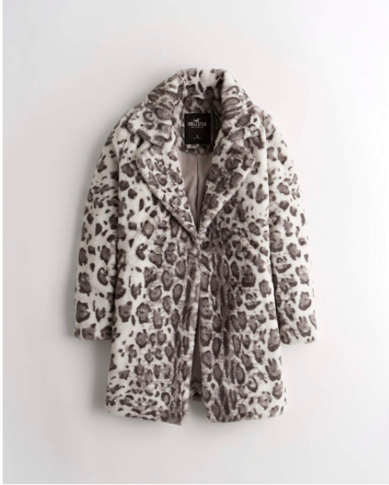 faux wool blend cheetah jacket