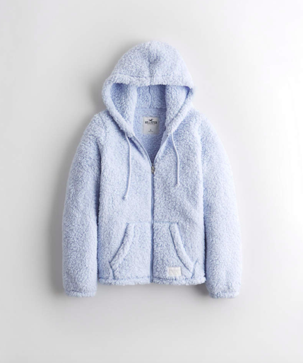 light blue sherpa coat