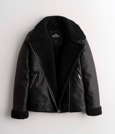 black fluffy faux leather coat
