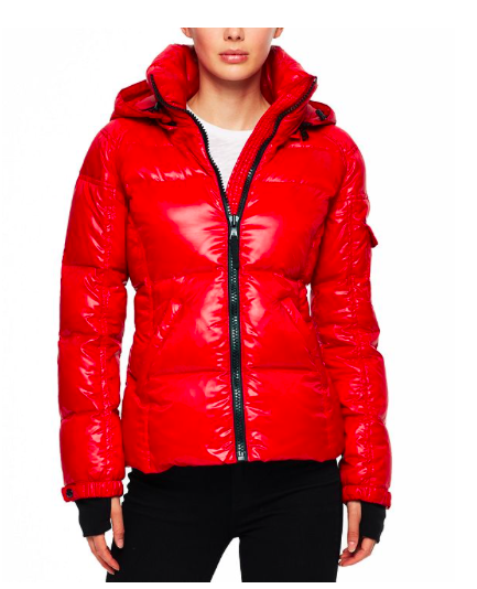 shiny red puffer jacket