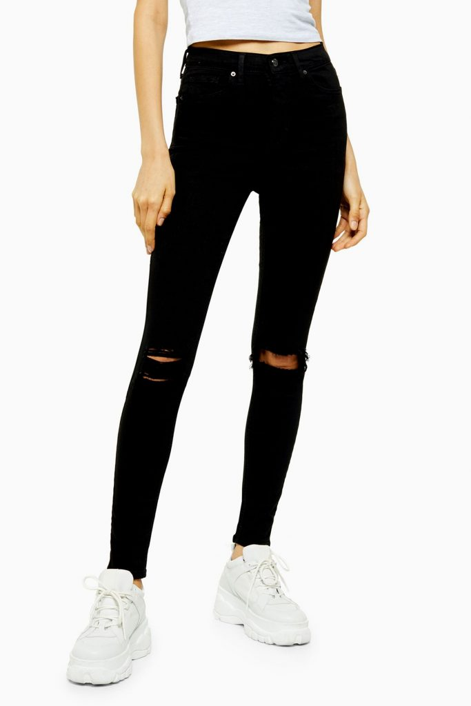Topshop shredded skinny jeans in black - must-have for edgy style