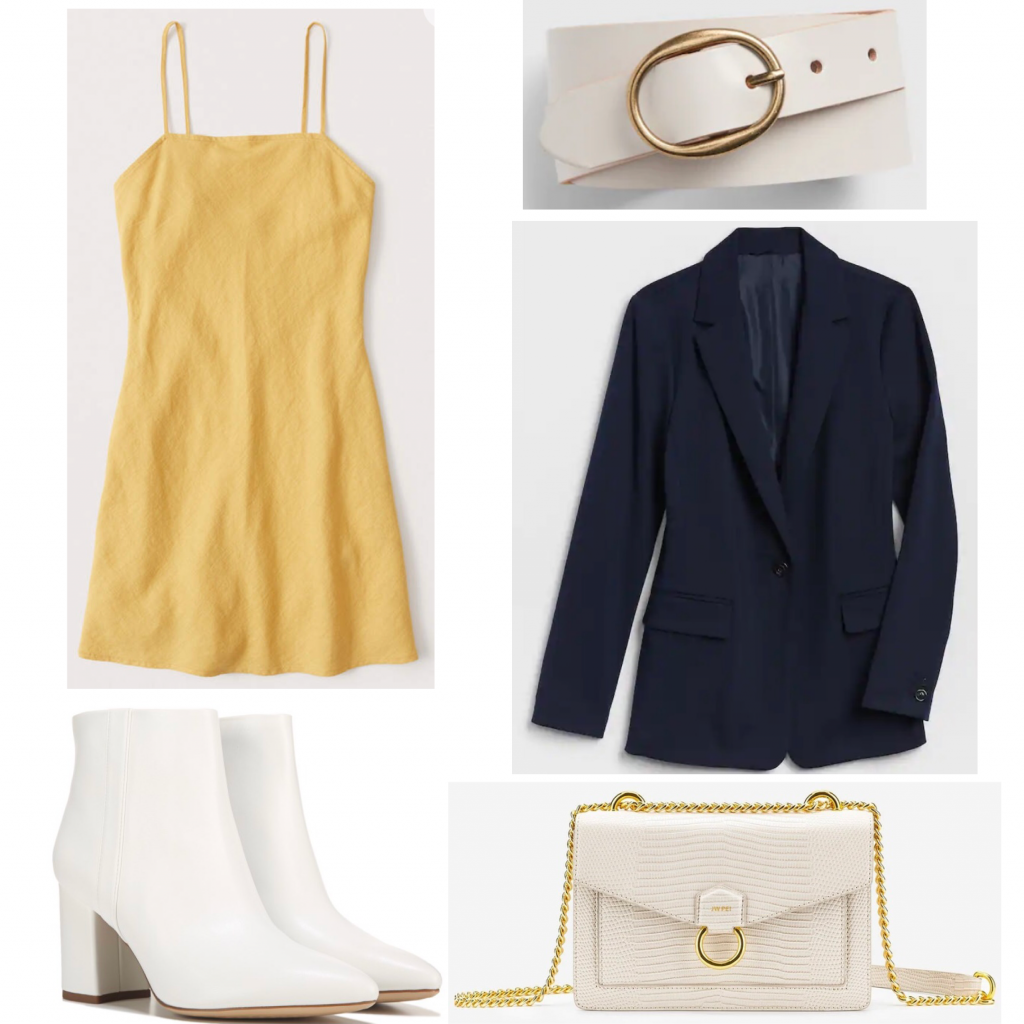 Criminal Minds outfits: Aaron Hotchner, Outfit set featuring a yellow dress and navy blazer