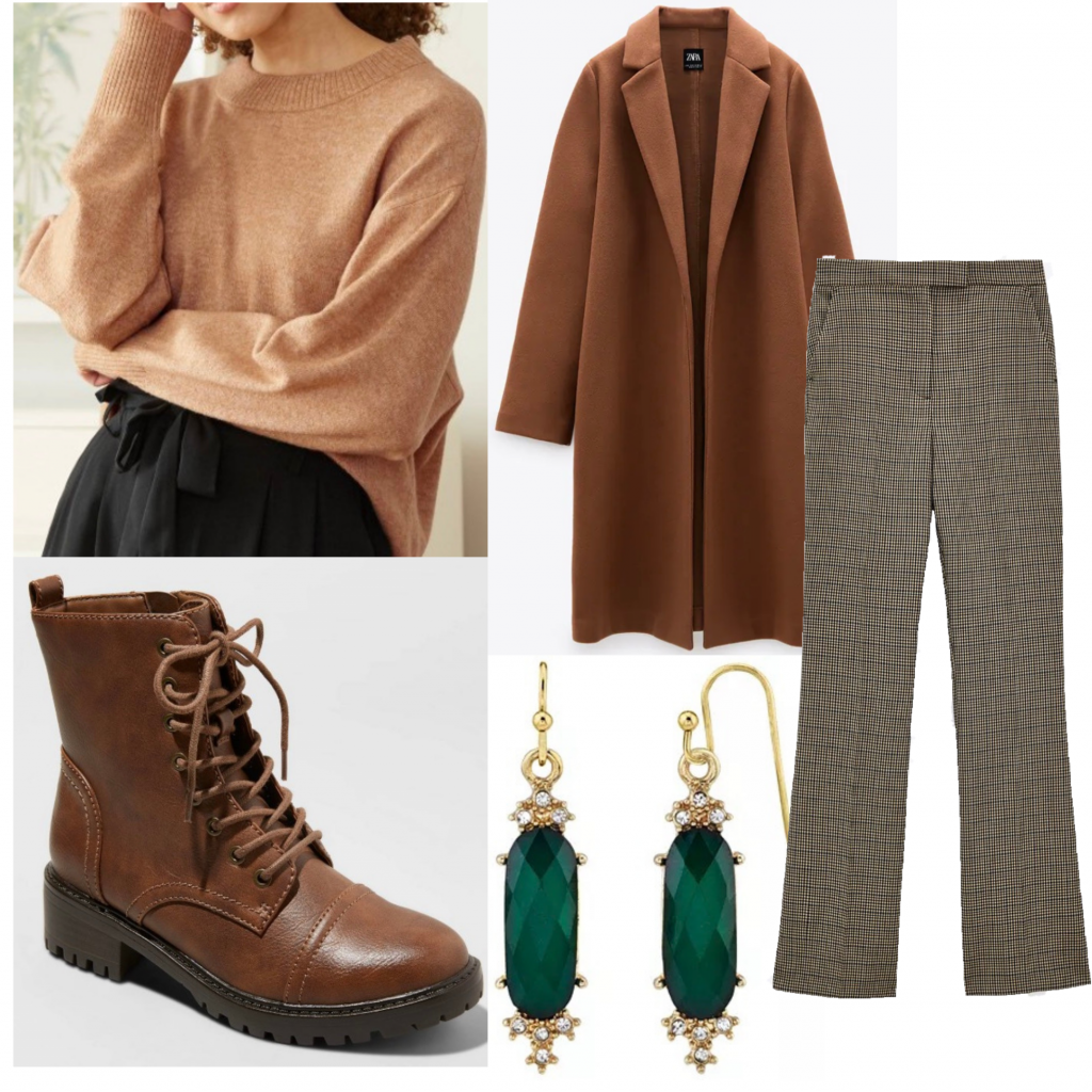 Spencer Reid outfit set from Criminal Minds featuring a tan sweater and plaid pants