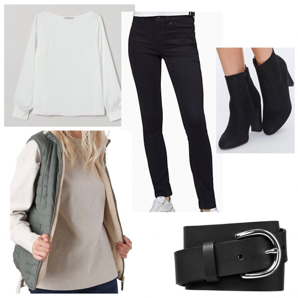 Criminal Minds outfit set for JJ's style featuring a white top, vest, and jeans