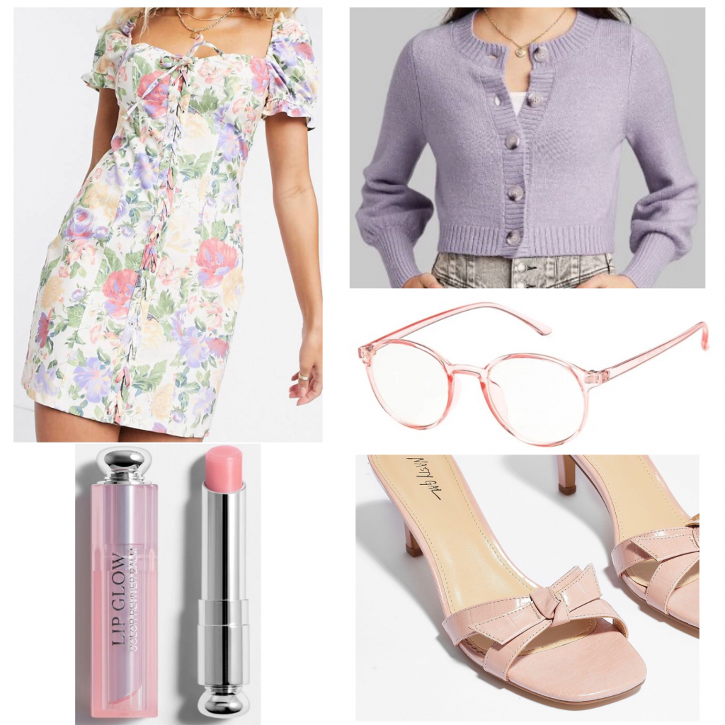 Penelope Garcia outfit set featuring a floral dress and lavender cardigan