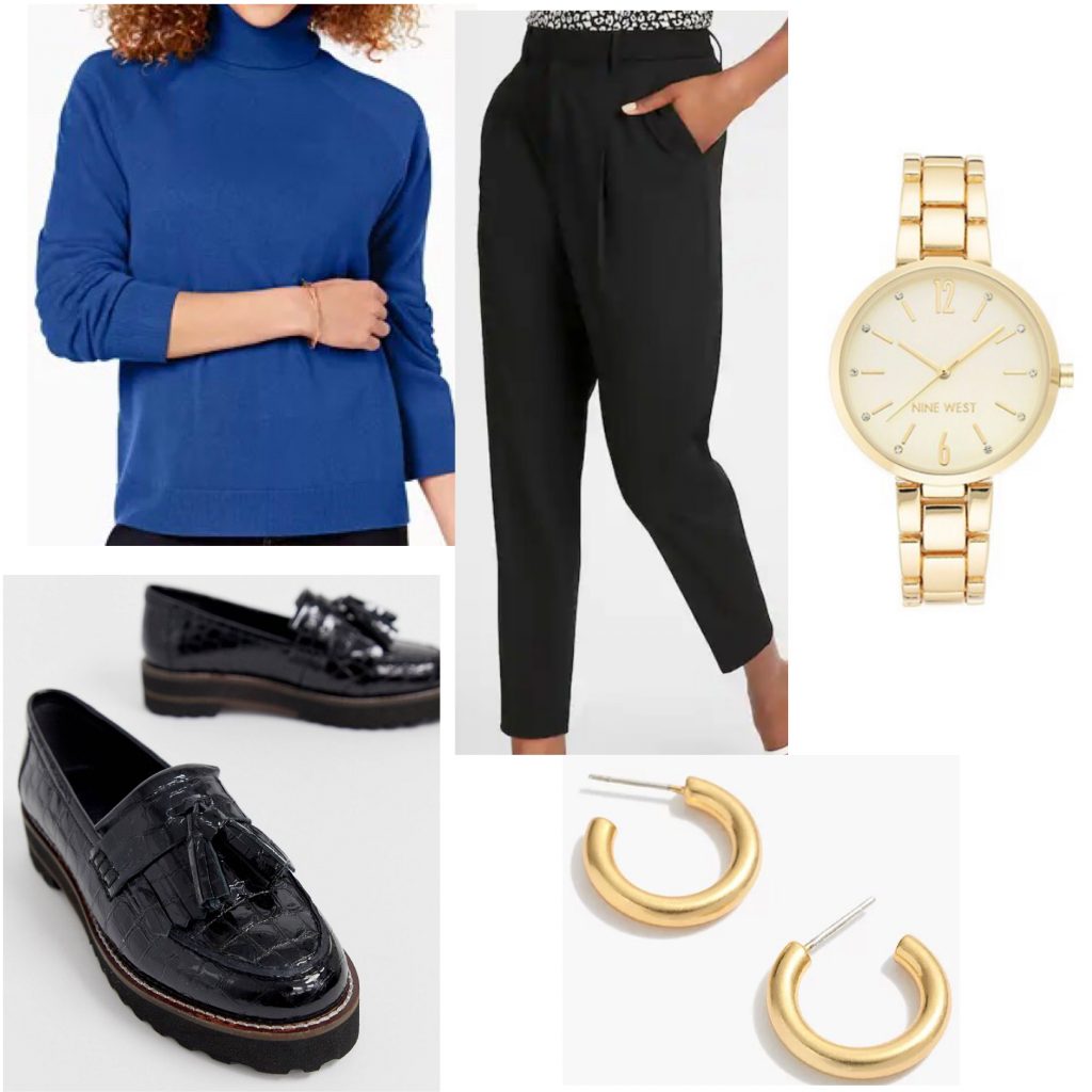 Emily Prentiss outfit set from Criminal Minds featuring a blue turtleneck and black dress pants