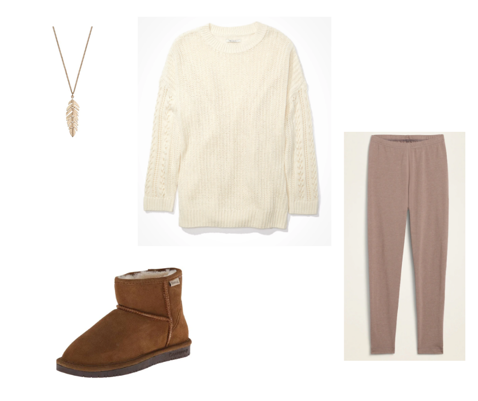 Outfit Guide 2: cream sweater, taupe leggings, brown soft booties, gold feather necklace