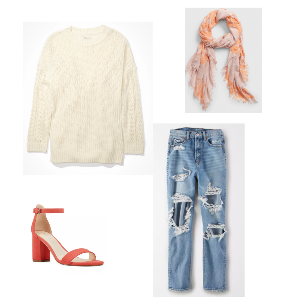 Outfit Guide 6: cream sweater, ripped jeans, orange scarf, orange heels