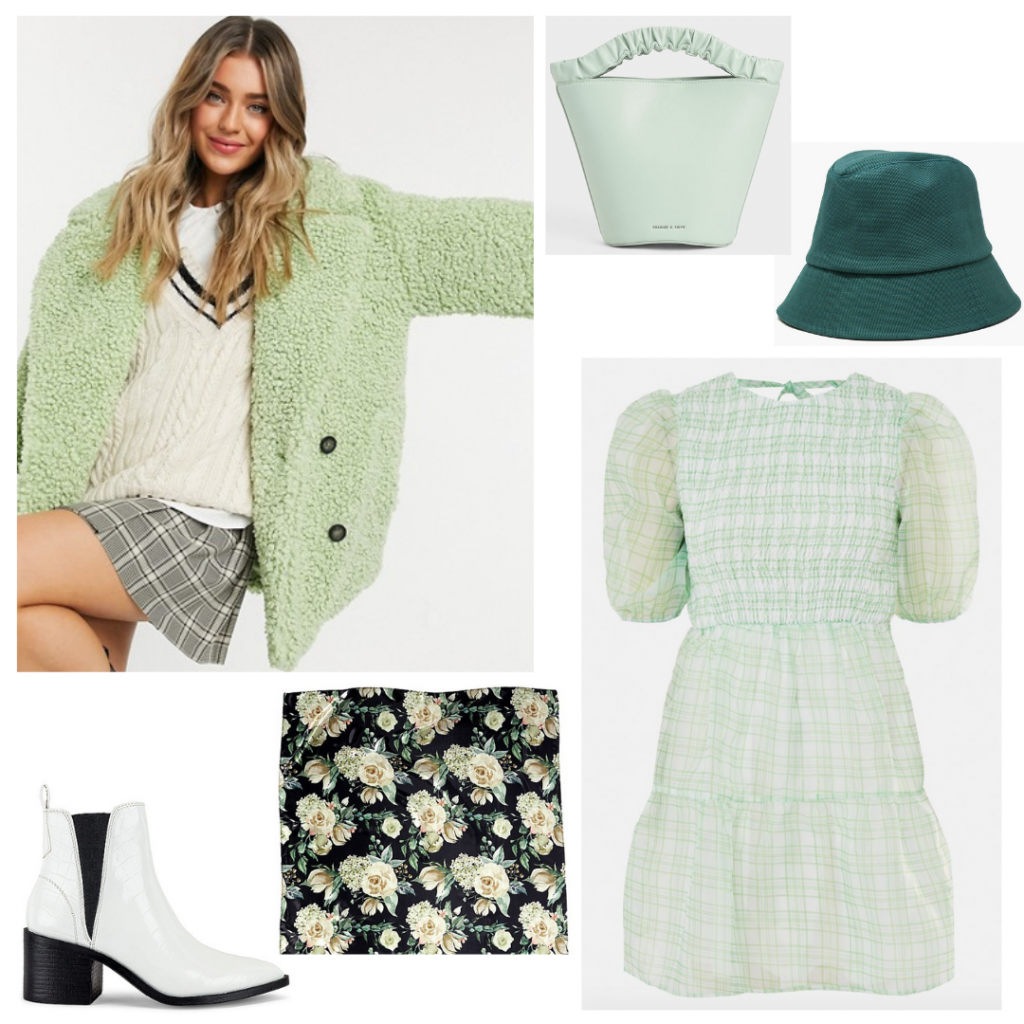 Emily in Paris green plaid outfit with fuzzy jacket, green plaid dress, white boots, bucket hat, mini bag, scarf
