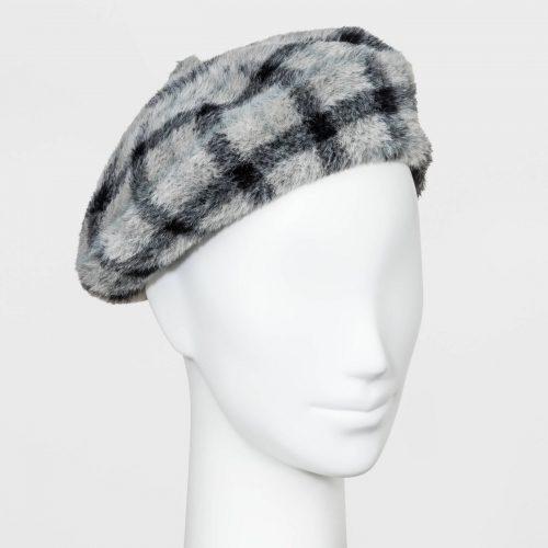 Target Plaid Faux Fur Felt Beret Hat