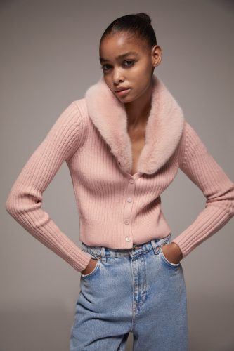 Zara Fur Trim Knit Cardigan