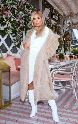 Pretty Little Thing Belted Faux Fur Coat