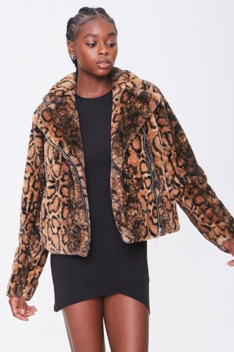 Forever 21 Animal Print Faux Fur Coat