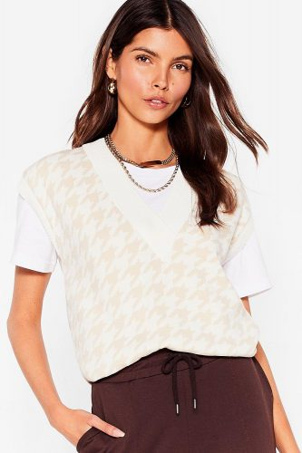 Nasty Gal Houndstooth Knitted Sweater Vest Top