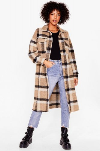 Nasty Gal Checked Faux Wool Jacket