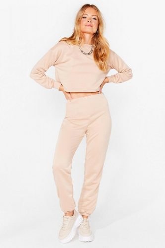 Nasty Gal Cropped Sweatshirt and Joggers Set