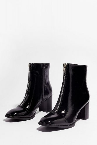 Nasty Gal Zippered Patent Faux Leather Ankle Boots