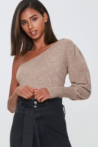 Forever 21 Ribbed One Shoulder Sweater