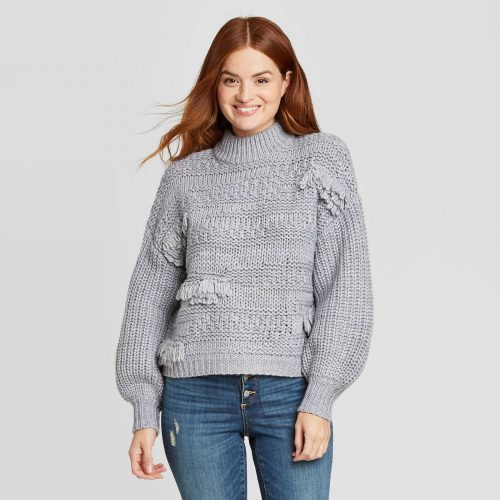 Target Mock Turtleneck Fringe Pullover Sweater