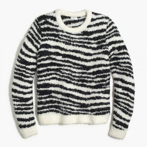 J.Crew Factory Boucle Zebra Pullover