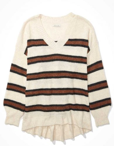Striped dreamspun v-neck sweater