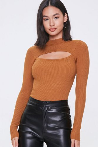 Forever 21 Ribbed Cutout Sweater