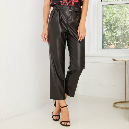 Target Faux Leather High Rise Belted Pleat Pants