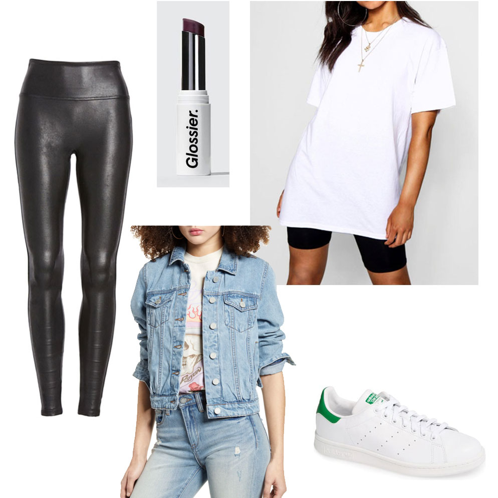 Lazy college outfits - white tee, leather leggings, oversized denim jacket, lipstick, stan smiths